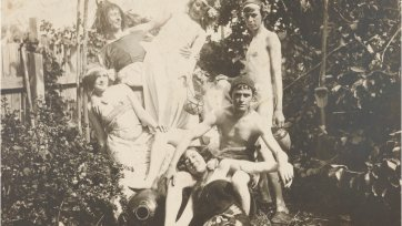 Ruby, Norman, Pearl, Percy, Reg, Bill Dyson and Mary in Creswick garden, c. 1899 an unknown artist