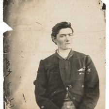 Prison photograph of Ned Kelly c.1873, image courtesy National Museum of Australia.