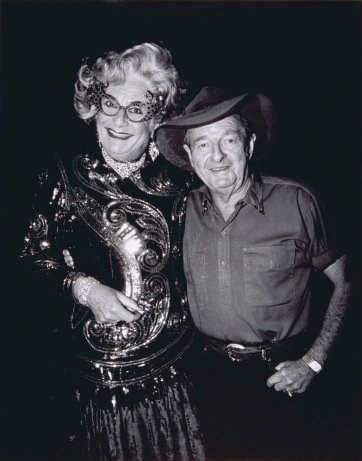 Slim Dusty and Dame Edna Everage, Carlton Hill Station, WA, 10 July 1993, 1993 by John Elliott