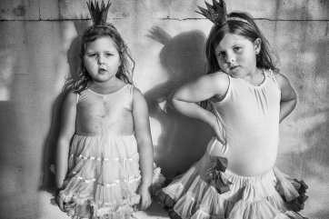 Sisters Isla and Elki role-play as princesses, 2015 by Natalie Grono
