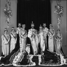 Group photograph taken at the coronation of King George VI including Queen Elizabeth II, Duke and Duchess of Gloucester and the Queen Mother, 12 May 1937 by Hay Wrightson