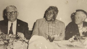 Dr HV Evatt, Albert Namatjira and Dame Mary Gilmore having a meal, c. 1950s an unknown artist