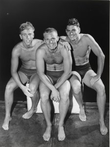 Murray Rose, Jon Henricks and John Devitt, 1955 by Ern McQuillan