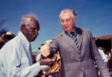 Prime Minister Gough Whitlam pours soil into the hand of traditional land owner Vincent Lingiari, 1975 by Mervyn Bishop