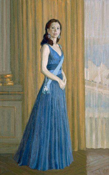 Study for commissioned portrait of HRH Crown Princess Mary of Denmark (full-length study), 2005 Jiawei Shen