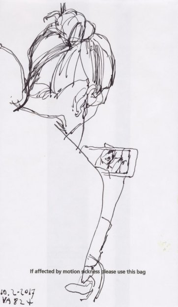 Sketch on airline refuse bag #1 by Nicholas Harding