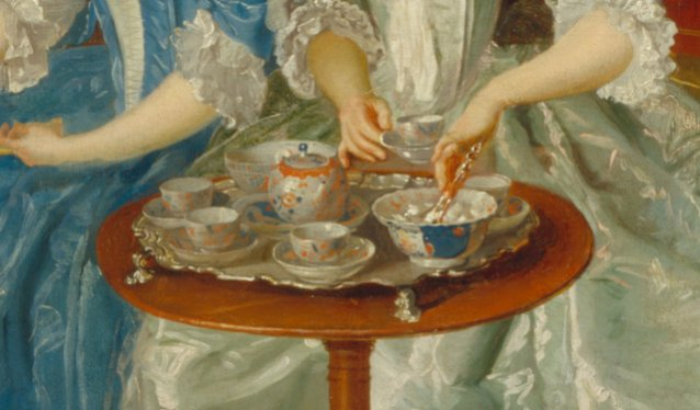 A Family Being Served with Tea (detail), ca. 1745 by an unknown artist